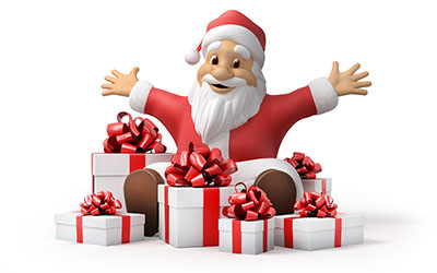 Santa Claus with gifts, 3d, illustration,  work path included